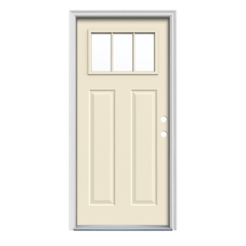 JELD-WEN Craftsman Insulating Core 3-Lite Left-Hand Inswing Bisque Steel Painted Prehung Entry Door (Common: 36-in x 80-in; Actual: 37.5-in x 81.75-in)