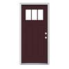 JELD-WEN Craftsman Insulating Core 3-Lite Left-Hand Inswing Currant Steel Painted Prehung Entry Door (Common: 36-in x 80-in; Actual: 37.5-in x 81.75-in)