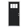 JELD-WEN Craftsman Insulating Core 3-Lite Left-Hand Inswing Peppercorn Steel Painted Prehung Entry Door (Common: 36-in x 80-in; Actual: 37.5-in x 81.75-in)