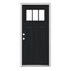 JELD-WEN Craftsman Insulating Core 3-Lite Right-Hand Inswing Peppercorn Steel Painted Prehung Entry Door (Common: 36-in x 80-in; Actual: 37.5-in x 81.75-in)