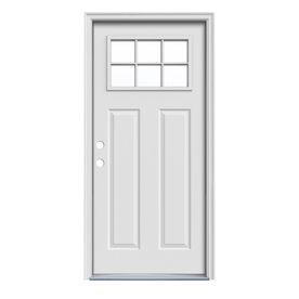 ReliaBilt Craftsman Insulating Core 6-Lite Right-Hand Inswing Primed Steel Prehung Entry Door (Common: 36-in x 80-in; Actual: 37.5-in x 81.75-in)