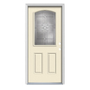 ReliaBilt Laurel 2-Panel Insulating Core Camber Top Half Lite Left-Hand Inswing Bisque Steel Painted Prehung Entry Door (Common: 36-in x 80-in; Actual: 37.5-in x 81.75-in)