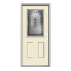 ReliaBilt Hampton 2-Panel Insulating Core Half Lite Left-Hand Inswing Bisque Steel Painted Prehung Entry Door (Common: 36-in x 80-in; Actual: 37.5-in x 81.75-in)