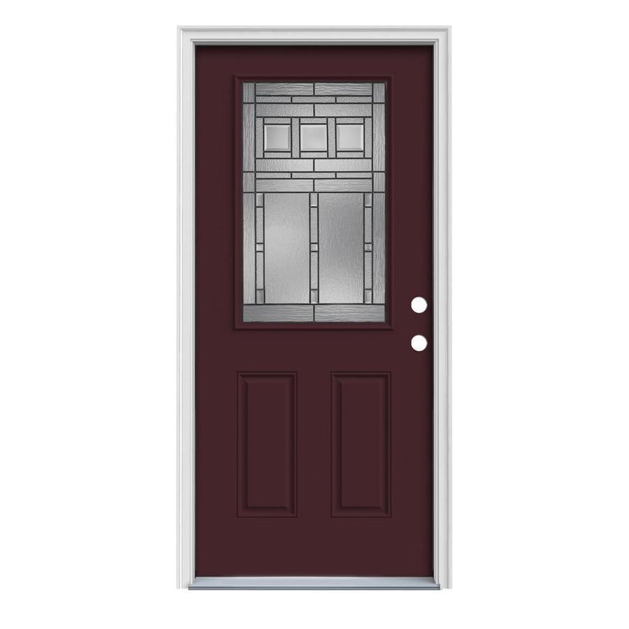 shop reliabilt half lite prehung inswing steel entry door common 32 in x 80 in actual 33 5