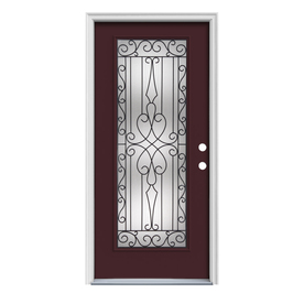 ReliaBilt Wyngate 1-Panel Insulating Core Full Lite Left-Hand Inswing Currant Steel Painted Prehung Entry Door (Common: 32-in x 80-in; Actual: 33.5-in x 81.75-in)