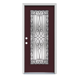 ReliaBilt Wyngate 1-Panel Insulating Core Full Lite Right-Hand Inswing Currant Steel Painted Prehung Entry Door (Common: 32-in x 80-in; Actual: 33.5-in x 81.75-in)