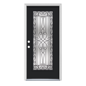 ReliaBilt Wyngate 1-Panel Insulating Core Full Lite Right-Hand Inswing Peppercorn Steel Painted Prehung Entry Door (Common: 36-in x 80-in; Actual: 37.5-in x 81.75-in)