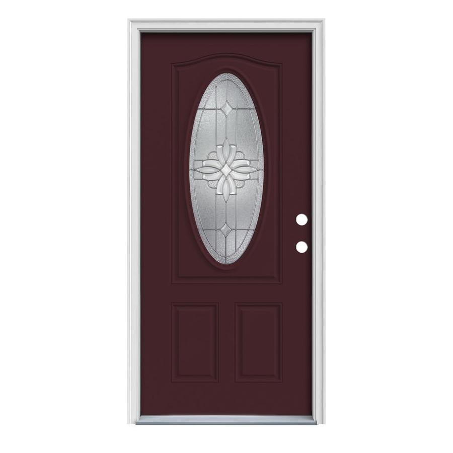 Shop Reliabilt Oval Lite Prehung Inswing Steel Entry Door Common 36 In X 80 In Actual 37 5