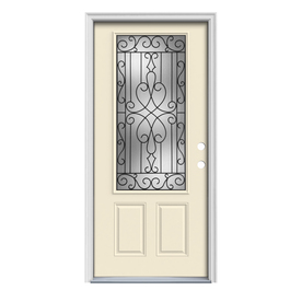 ReliaBilt Wyngate 1-Panel Insulating Core 3/4 Lite Left-Hand Inswing Bisque Steel Painted Prehung Entry Door (Common: 32-in x 80-in; Actual: 33.5-in x 81.75-in)