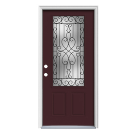 ReliaBilt Wyngate 1-Panel Insulating Core 3/4 Lite Right-Hand Inswing Currant Steel Painted Prehung Entry Door (Common: 36-in x 80-in; Actual: 37.5-in x 81.75-in)