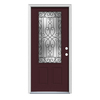 ReliaBilt Wyngate 1-Panel Insulating Core 3/4 Lite Left-Hand Inswing Currant Steel Painted Prehung Entry Door (Common: 36-in x 80-in; Actual: 37.5-in x 81.75-in)