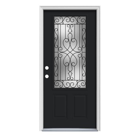 ReliaBilt Wyngate 1-Panel Insulating Core 3/4 Lite Right-Hand Inswing Peppercorn Steel Painted Prehung Entry Door (Common: 36-in x 80-in; Actual: 37.5-in x 81.75-in)