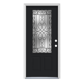 ReliaBilt Wyngate 1-Panel Insulating Core 3/4 Lite Left-Hand Inswing Peppercorn Steel Painted Prehung Entry Door (Common: 36-in x 80-in; Actual: 37.5-in x 81.75-in)