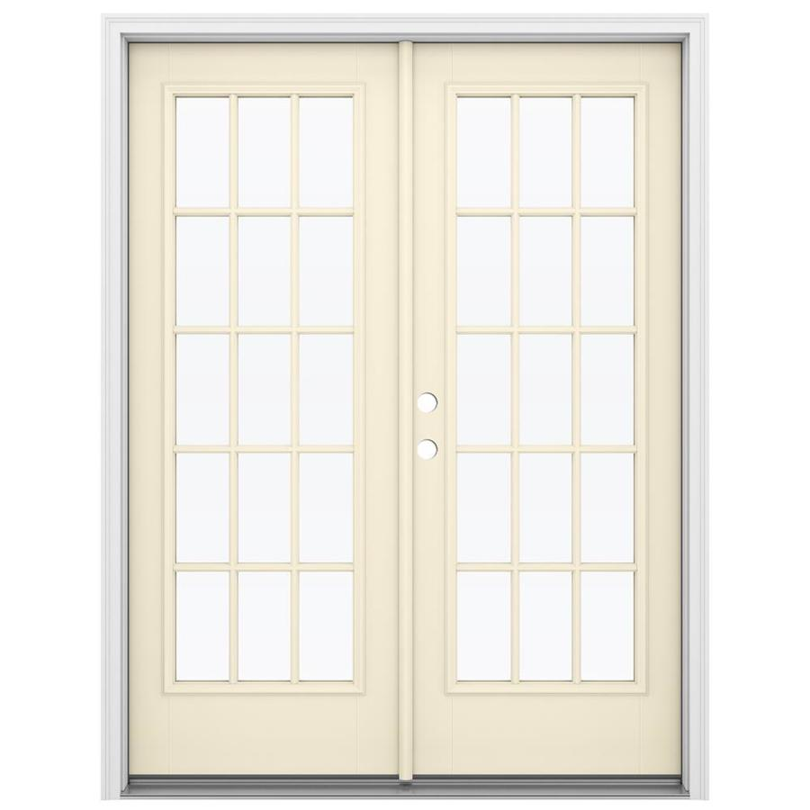 Shop reliabilt 59 5 in 15 lite glass fiberglass french for Fiberglass patio doors