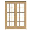 ReliaBilt Prehung Solid Core 15-Lite Pine French Interior Door (Common: 60-in x 80-in; Actual: 61.75-in x 81.5-in)