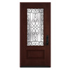 JELD-WEN Wyngate 1-Panel Insulating Core 3/4 Lite Left-Hand Inswing Wineberry Stain Fiberglass Stained Prehung Entry Door (Common: 36-in x 80-in; Actual: 36-in x 80-in)