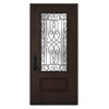 JELD-WEN Wyngate 1-Panel Insulating Core 3/4 Lite Right-Hand Inswing Walnut Stain Fiberglass Stained Prehung Entry Door (Common: 36-in x 80-in; Actual: 36-in x 80-in)
