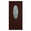 JELD-WEN Hampton 2-Panel Insulating Core Oval Lite Left-Hand Inswing Wineberry Stain Fiberglass Stained Prehung Entry Door (Common: 36-in x 80-in; Actual: 36-in x 80-in)