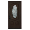 JELD-WEN Hampton 2-Panel Insulating Core Oval Lite Right-Hand Inswing Walnut Stain Fiberglass Stained Prehung Entry Door (Common: 36-in x 80-in; Actual: 36-in x 80-in)