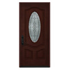 JELD-WEN Hampton 2-Panel Insulating Core Oval Lite Right-Hand Inswing Wineberry Stain Fiberglass Stained Prehung Entry Door (Common: 36-in x 80-in; Actual: 36-in x 80-in)