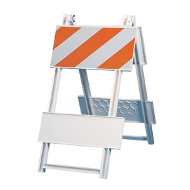 Three D Traffic Works Type I All Plastic Folding Barricade with Reflective Sheeting.