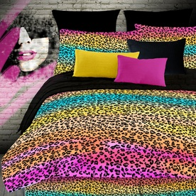 Rainbow Leopard 4-Piece Multicolor Full Comforter Set