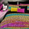Rainbow Leopard 4-Piece Multicolor Queen Comforter Set