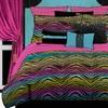 Rainbow Zebra 4-Piece Rainbow Queen Comforter Set