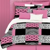 Pink Skulls 4-Piece Pink Full Comforter Set