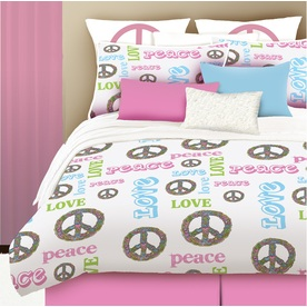 Peace and Love 4-Piece Pink Queen Comforter Set