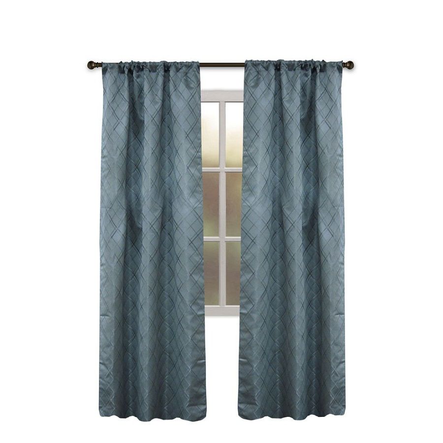 Slate Blue Curtain Panels Park Silk Texture Grommet Ricardo Steps Grommet Top Curtain Panel