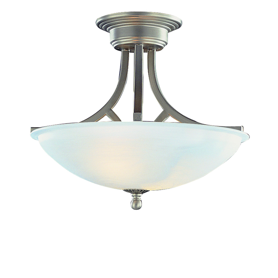 in w brushed nickel frosted glass semi flush mount light at