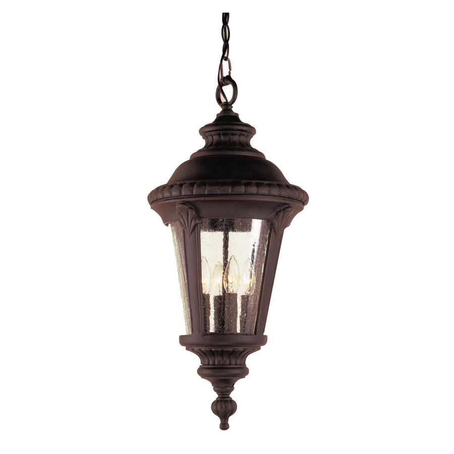 Outdoor Hanging Lanterns Lowes: Shop Portfolio 22-in H Black Outdoor Pendant Light At