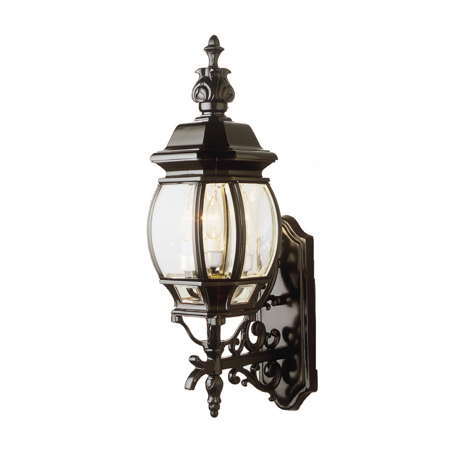 shop portfolio 25 in h black outdoor wall light at lowes