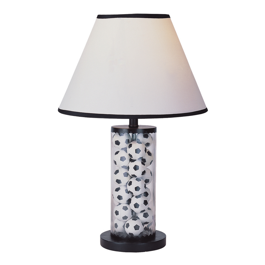 Shop portfolio 20quot black and white table lamp with white for Miss k table lamp closeout special