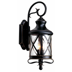 shop allen roth 20 5 in h oil rubbed bronze outdoor wall light at. Black Bedroom Furniture Sets. Home Design Ideas