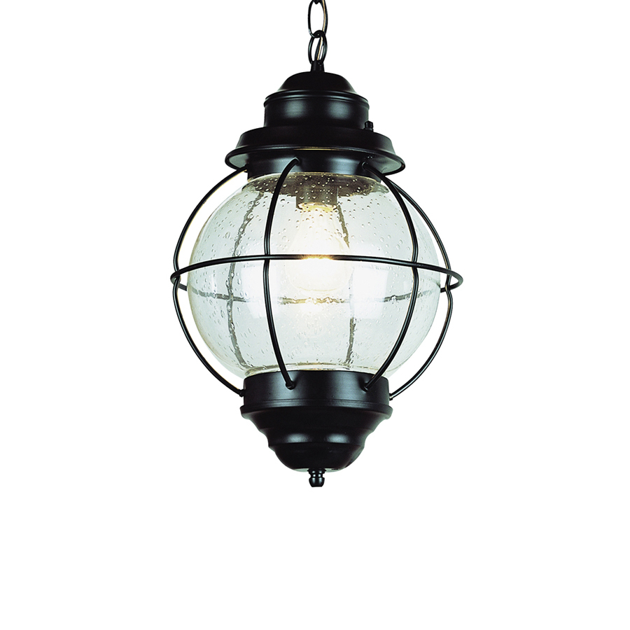 shop bel air lighting 19 in h rubbed bronze outdoor pendant light at lowes