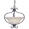 Portfolio 17-1/4-in W Bronze Gold Pendant Light with Marbleized Shade