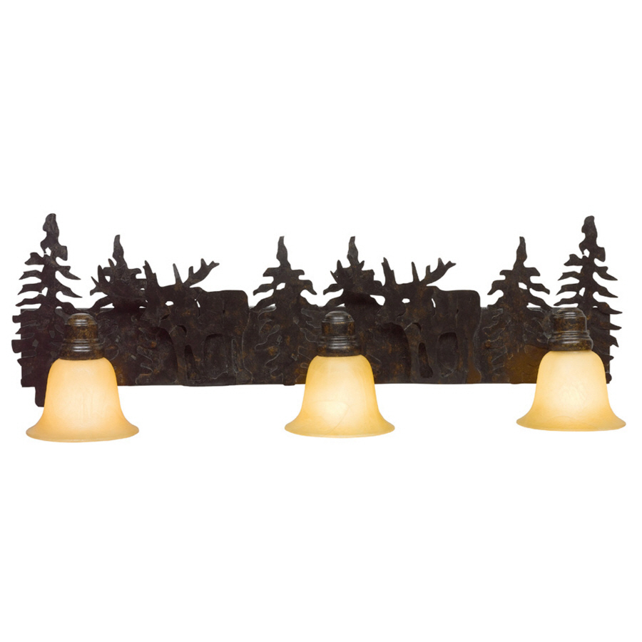 Shop bel air lighting 3 light lodge decor rust bathroom for Bathroom light fixtures lowes