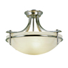 Portfolio 21-1/2-in Brushed Nickel Marbleized Semi-Flush Mount Light