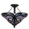 Portfolio Art Glass 16-in W Oil-Rubbed Bronze Frosted Glass Tiffany-Style Semi-Flush Mount Light