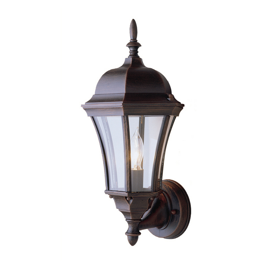 shop portfolio 17 in h rust outdoor wall light at. Black Bedroom Furniture Sets. Home Design Ideas