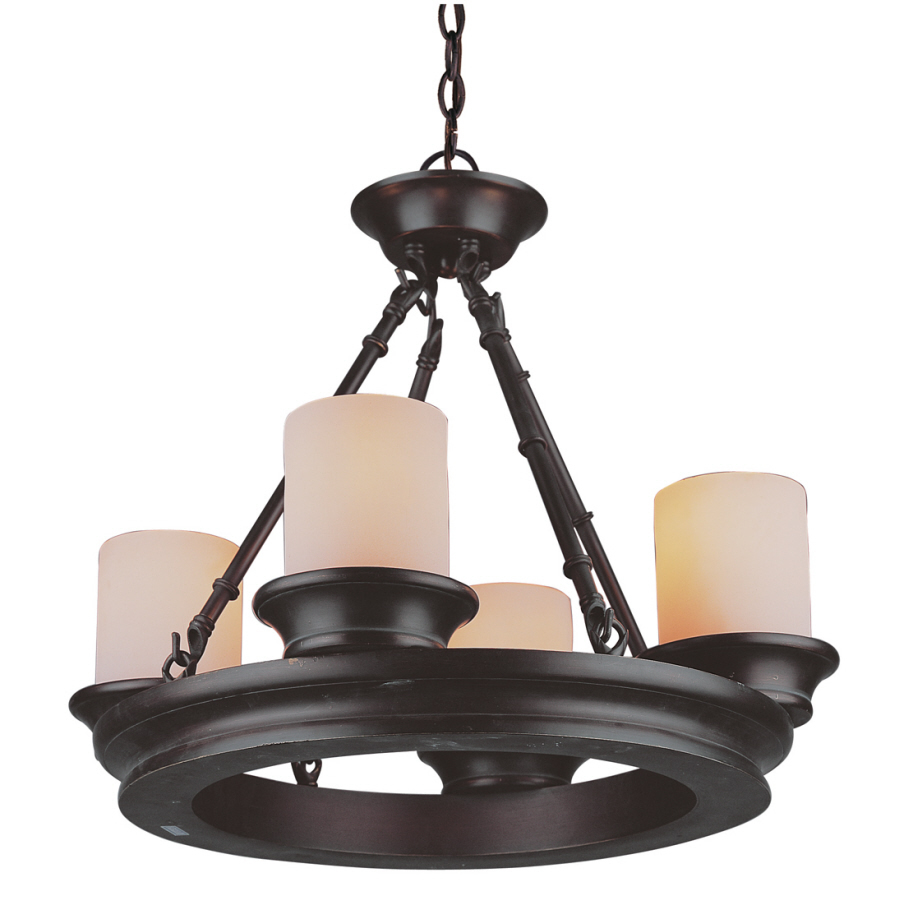 Shop allen roth 4 light oil rubbed bronze chandelier at - Light fixtures chandeliers ...