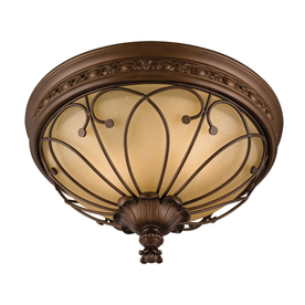 allen + roth 16-in W Antique Bronze Ceiling Flush Mount