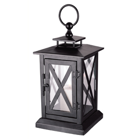 15.75-in H Black Metal Outdoor Decorative Lantern