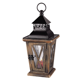 allen + roth 21.62-in H Faux Wood Metal Outdoor Decorative Lantern