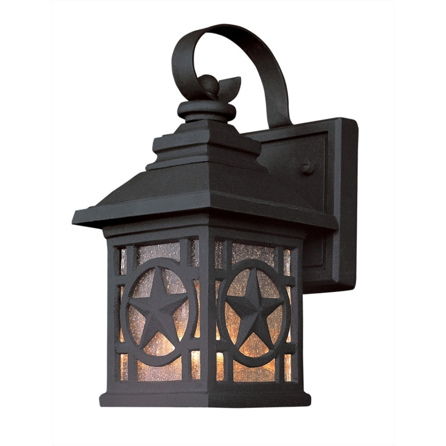 Backyard Lights Lowes : Shop Portfolio 1762in H Black Outdoor Wall Light at Lowescom