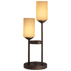 allen + roth 22.5-in Oil-Rubbed Bronze Indoor Table Lamp with Glass Shade