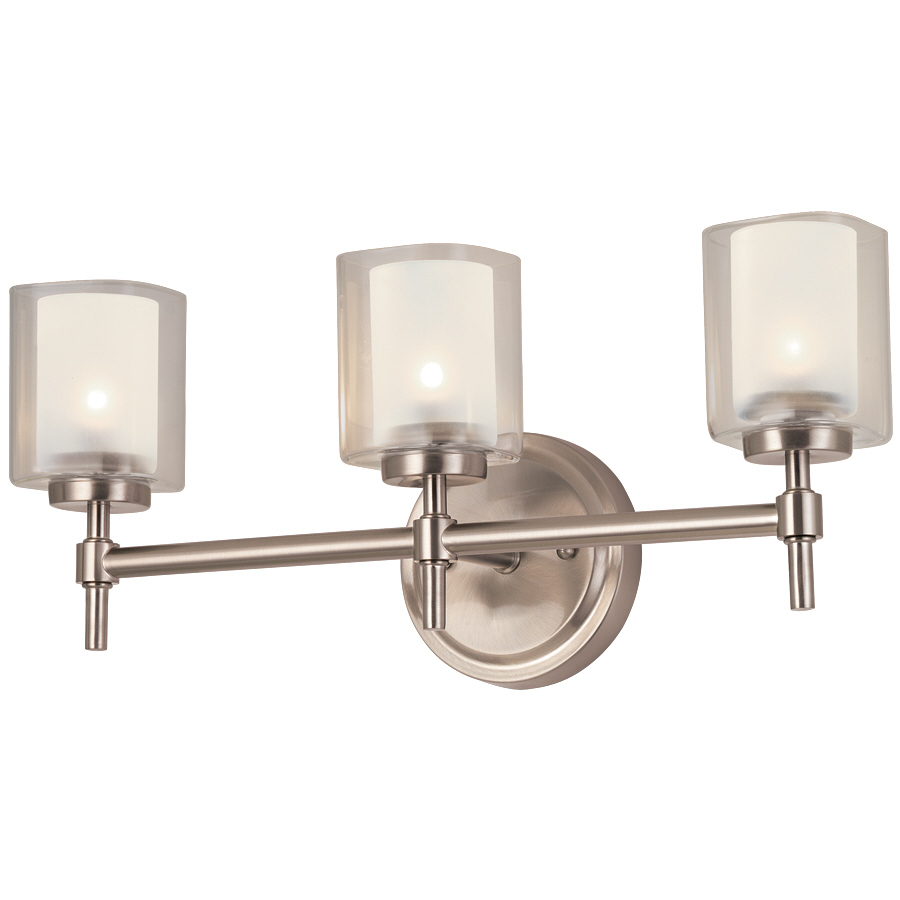 Shop bel air lighting 3 light brushed nickel bathroom for Bathroom light fixtures lowes