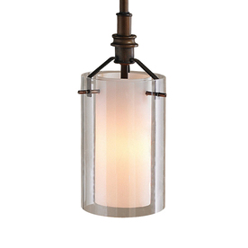 allen + roth 5.12-in W Oil-Rubbed Bronze Mini Pendant Light with Clear Glass Shade